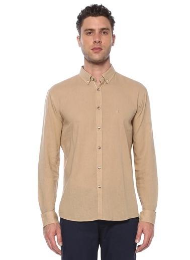 NetWork NetWork 1073655 Slim Fit Bej Keten Gömlek Erkek Gömlek Gri